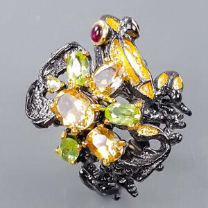 Fine Art Design ring Citrine Ring Silver 925 Sterling  Size 8 /R172373