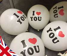 I Love You Heart Valentines Balloons - 5 Pack - Anniversary Birthday Decorations
