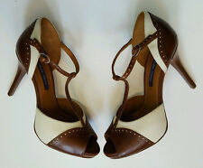 RALPH LAUREN COLLECTION JENILEE CALFSKIN LEATHER BROWN/CREAM SANDALS 7B ITALY