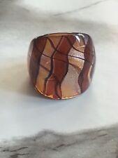 Brown &Black Swirl W/ Stardust Lampwork Glass Wide Band Ring Handmade Sz 6-6.5