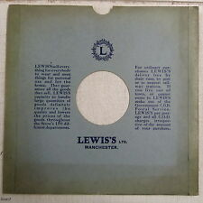 """78rpm 12"""" card gramophone record sleeve LEWIS`S , MANCHESTER"""