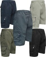 Mens Elasticated Waist Cargo Combat Plain Shorts 6 Pocket Zip Fly M - XXL