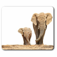 Computer Mouse Mat - Mother & Baby Elephant Cute Office Gift #2321