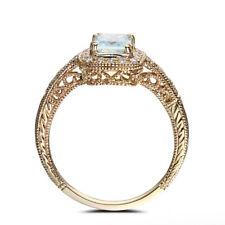 Aquamarine Emerald Cut 7x5mm Natural Diamonds Wedding Party Ring 14K Yellow Gold