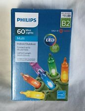 NEW Philips 60 Mini String Smooth LED Christmas Lights - Multi Color