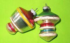 2 VINTAGE CHRISTMAS GLASS UFO STRIPE SHINY BRITE TREE ORNAMENTS
