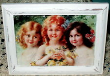 SHABBY VINTAGE WOOD FRAME CHIC VICTORIAN GIRLS ROSES PRINT FRENCH COTTAGE DECOR