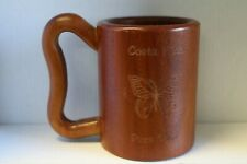 "Wooden Costa Rican Mug ""Pura Vida"" Etched Butterfly"