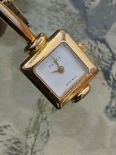 GUCCI 1900L GOLD PLATED WHITE SQ DIAL BANGLE WATCH
