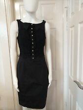KAREN MILLEN BLACK COTTON FRENCH LACE  PENCIL DRESS. SIZE 12 UK.
