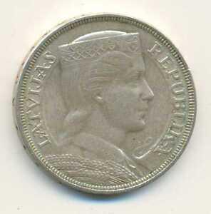 Latvia Silver 5 Lati 1932 XF