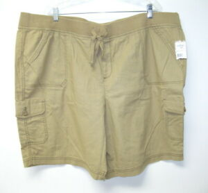 NWT Women's Cotton Linen Stretch Waist Tan Beige Cargo Shorts Women 24W