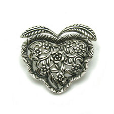 Handmade Genuine Solid Hallmarked 925 Sterling Silver Brooch Heart With Flowers