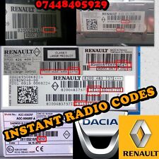 INSTANT RENAULT DACIA RADIO DECODE UNLOCK CODE MEGANE CLIO TWINGO TRAFIC MASTER