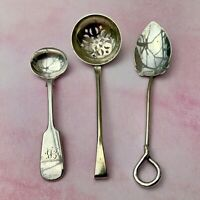 ANTIQUE SPOONS x3 JAM SIFTER SALT PIPE LOOP FIDDLE MONOGRAM SILVER PLATE LADLE