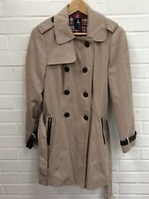 Atmosphere Stone Beige Ladies Button Belted Trench Coat Size UK 12 Charity Sale