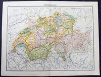 1890 Bartholomew Original Antique Map of Switzerland
