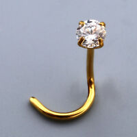 1Pc Stainless Steel Cubic Zirconia Nose Twist Ring Stud Body Piercing Gold 20Ga
