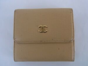 Auth TW20 CHANEL Coco mark tri-fold wallet with serial seal from Japan