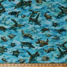Cotton Sea Turtles Tropical Fish Ocean Life Nature Fabric Print By Yard D501.43