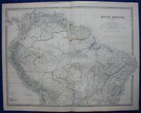 SOUTH AMERICA, BRAZIL, AMAZONAS, ECUADOR, original antique map, Johnston, 1871