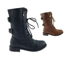 LADIES WOMENS ARMY STYLE GOTH PUNK WORKER STYLE LACE UP ANKLE BOOTS SHOES SIZE