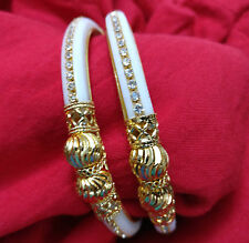 Indian Wedding Handmade White Gold Plated Stone Kada Bracelet Bangles 2pc 2.8