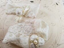 BRIDAL Wedding Garter Set, Lace HANDMADE IVORY Rosettes, Pearls Rhinestones