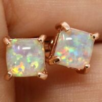 Large 2Ct Princess White Opal Earrings Wedding Jewelry 14K Rose Gold Plated