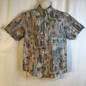 David Taylor Mens Hawaiian Floral Blue Pink Black Aloha Short Sleeve Shirt Large