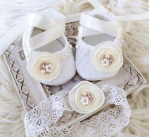 Baby Girl Ivory Christening Shoes Baptism Shoes Satin Flower Lace Headband Set