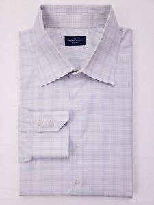 Proper Cloth Shirt 17 Checked Gray White Blue Mens Size Custom Cotton Windowpane