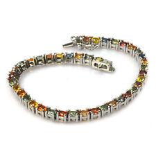 De Buman 8.91ctw Genuine Color Sapphire Solid 18KY & 925 Silver Bracelet, 7.28''