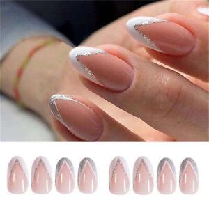 24pcs Fake Nails Reusable Stick On Nails Press on Full Cover False Nail Tips