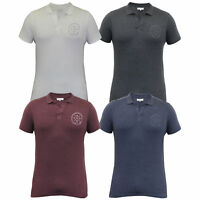 Mens Polo T Shirt Crosshatch Short Sleeved Pique Top Collared Casual Summer New