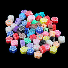 100x Colorful Flower Shaped Polymer Clay Loose Beads Fit DIY Bracelet Necklace