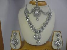 New Indian Bollywood Costume Jewellery Necklace Earrings Tikka  Set Head Piece