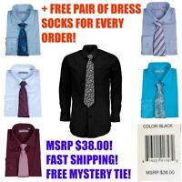 Alberto Cardinali Men's Long Sleeve Dress Shirt Matching Tie Set Mystery Tie