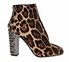 NEW $1500 DOLCE & GABBANA Leopard Pony Hair Leather Boots Shoes EU38 / US7.5