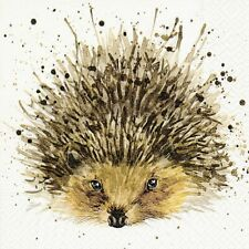4 x Single Paper Table Napkin/3-Ply/33cm/Decoupage/Cute Hedgehog