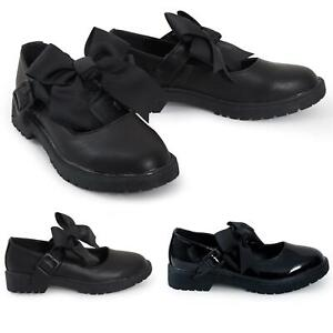 Girls Patent Bow Black Shiny Ankle Jane Strap Mary Back To School Shoes