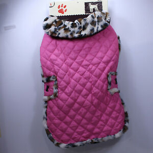 "NEW  Quilted Pink  Leopard Trim DOGGIE Coat HOOK & Loop connections 16"" Long"