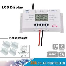 LCD 30A MPPT Solar Panel Regulator Controller 12V/24V 3 Timer+Z-Brackets Set AC