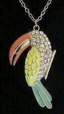 ACCESSORIZE TOUCAN ENAMEL & CRYSTAL PENDANT NECKLACE GOLD TONE BIRD (8576)