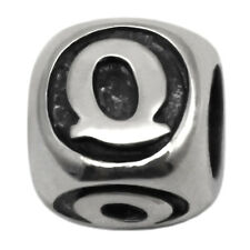 Letter Q Sterling Silver Alphabet Charm Bead for Personalized Bracelet Necklace