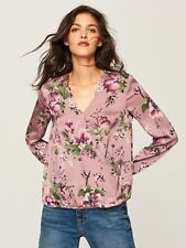 RESERVED Pink Floral Wrap Style Blouse Top - Size: UK 8 (EU36)