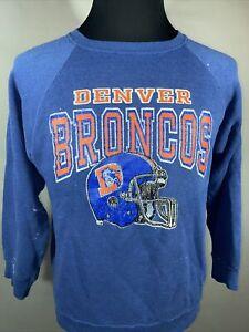 Vintage 80s Champion Denver Broncos NFL Men's  Distressed Raglan Sweatshirt XL