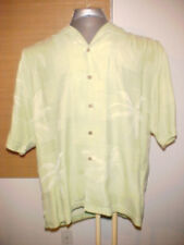 Tommy Bahama Men's 100 silk Shirt short Extra Large XL green hawiian