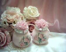 Shabby Victorian Chic 2 Decorative JARS~PINK~Foam Roses~Pastel Rose Design