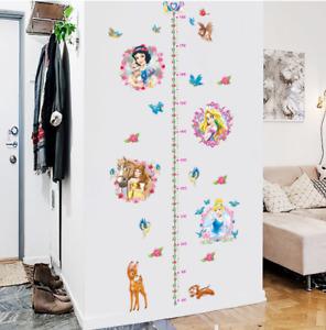 Princess Growth Chart Children Wall Stickers Nursery Kids Girl Room Decals UK D1